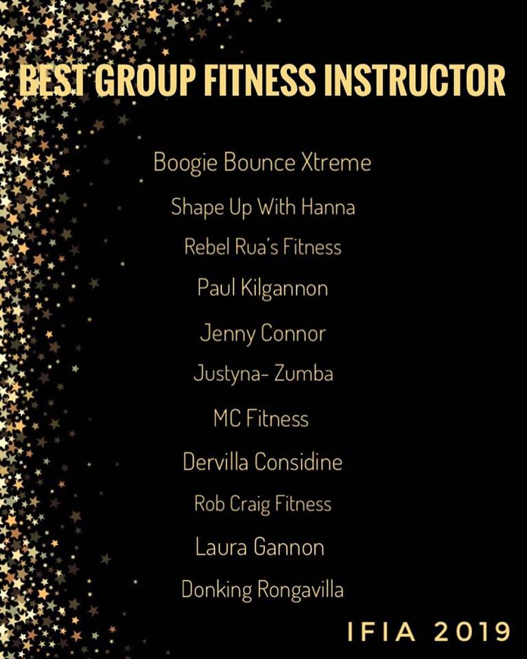 Nominated for best group fitness instructor